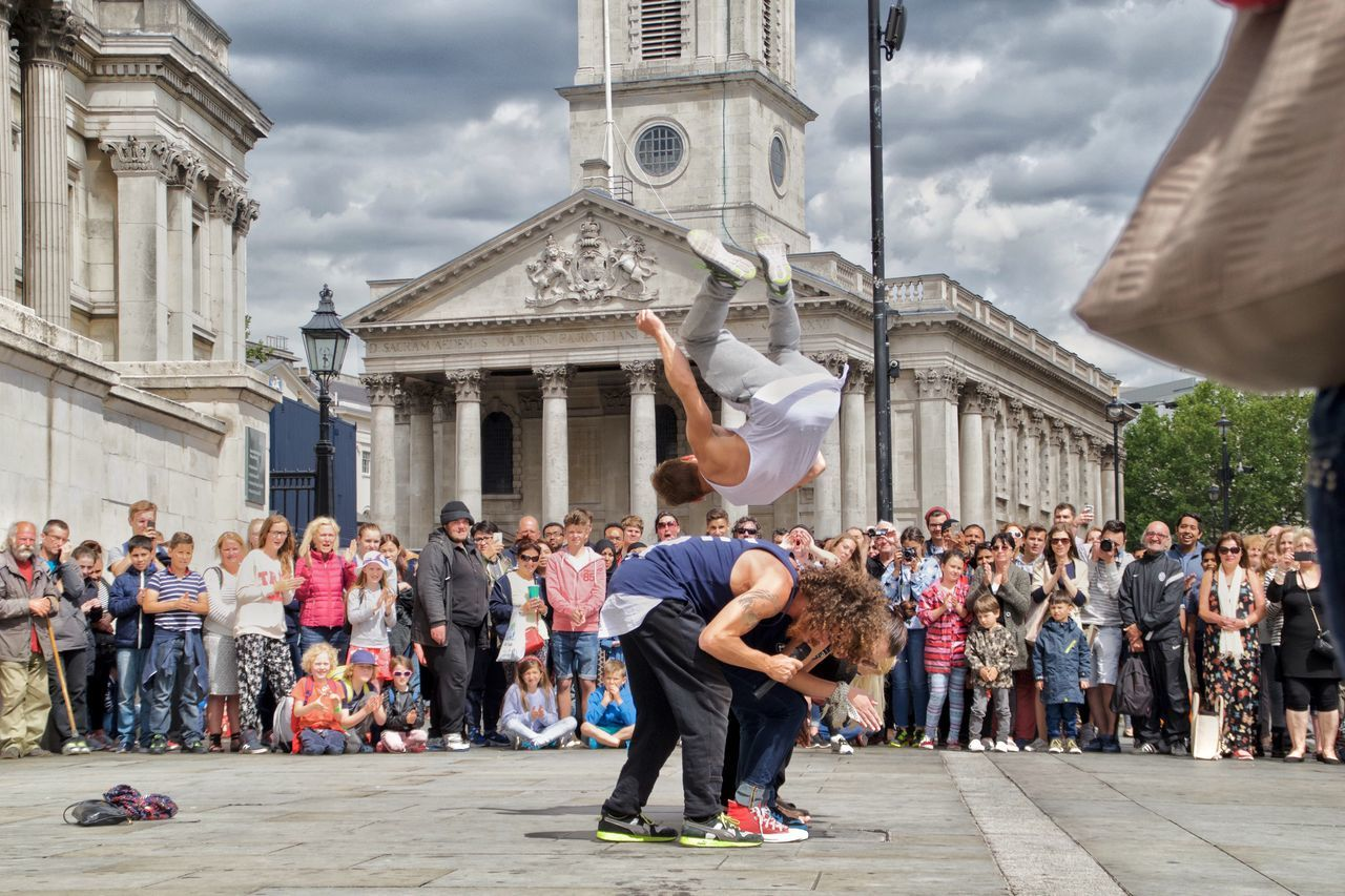 Talented Street Performers Flipping over a Crowd in London Sport In The City Capture The Moment