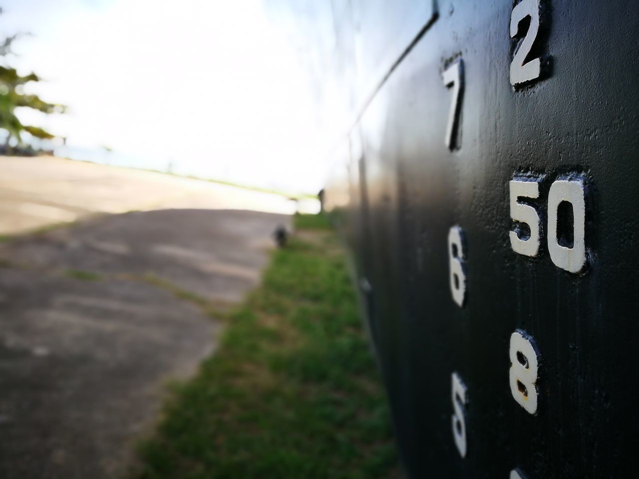 number, focus on foreground, day, no people, field, close-up, outdoors, sky