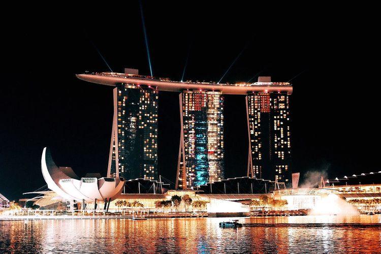FUJIFILM X-T1 Marina Bay Sands Marina Bay Singapore Marinabaysands Marina Bay Sands Hotel Marina At Night