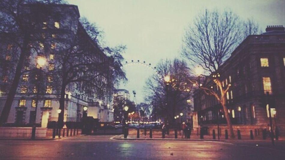 Trees Lights London Eye On The Road ...