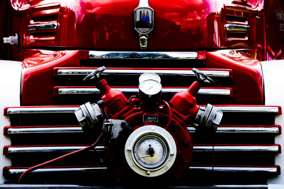 Detail of a n old fire fighter truck Car Chrome Classic Car Clean Close-up Day Detail Feuerwehr Fire Truck Fresh On Eyeem  Historical Oldtimer Oldtimers Polished Pump Pumpe Red Truck Lieblingsteil