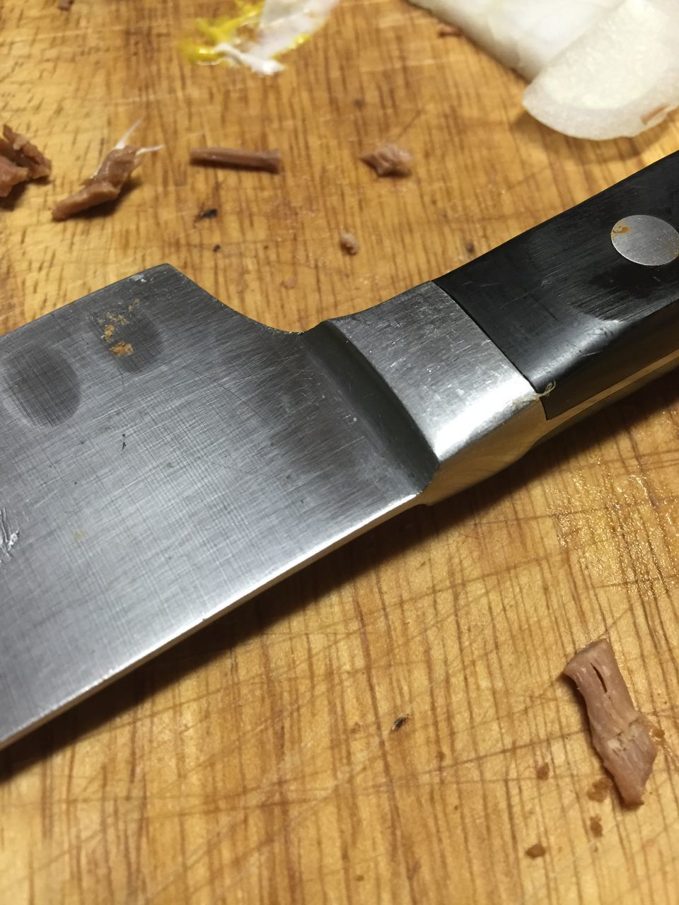 High Angle View Of Knife On Wooden Table
