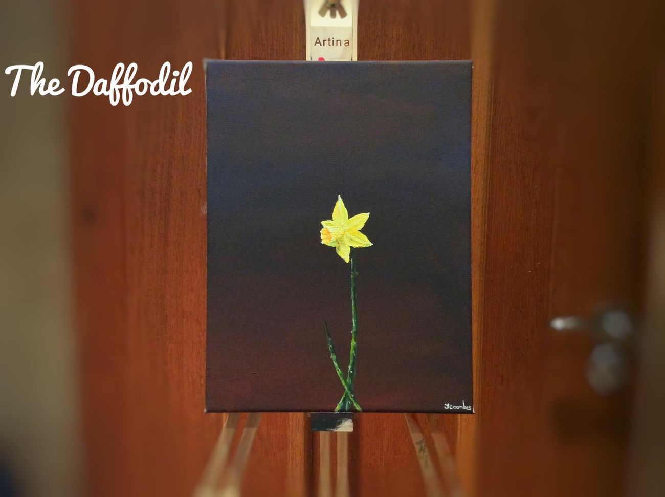 """ The Daffodil "" by Jack Coombes. Flower No People Indoors  Text Day Close-up Fragility Nature Art Painting Artist Still Life Photography Jack Coombes Young Artist Plant Indoors  First Eyeem Photo"