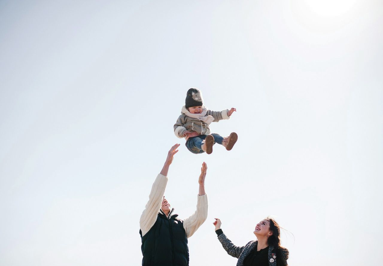Beautiful stock photos of familien, child, girls, happiness, low angle view