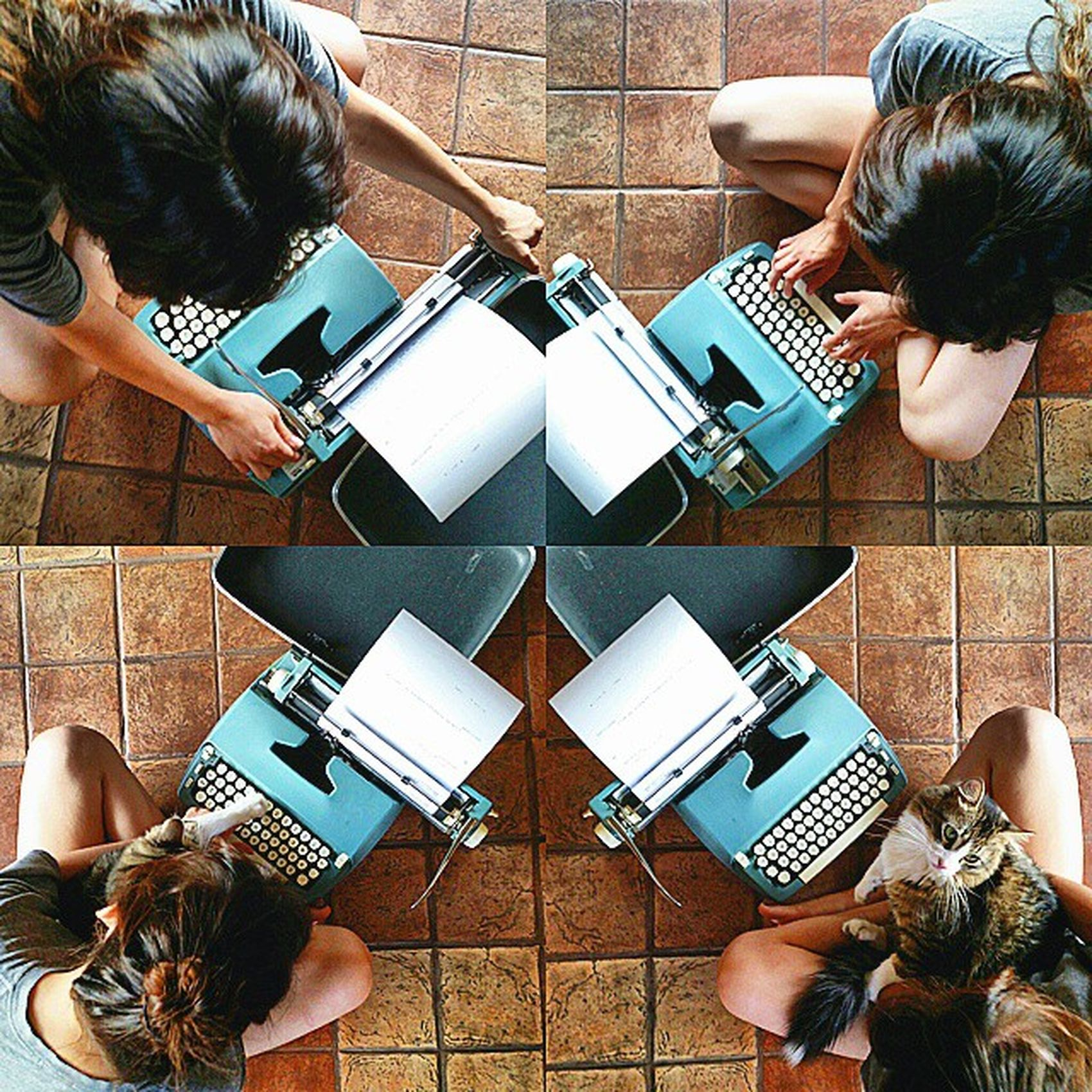 Morning-sesh⛅💗 Writing a love letter 💌to my cousin @victoriaramirez_ 😘 Along with my cat Indy😽. she was trying to touch the keys when I was typing. So, in the bottom left photo she held it with my finger,as I pushed the key down.😸 she's too adorbs Loveletters Typewriter Vintageisbetter Vscocam