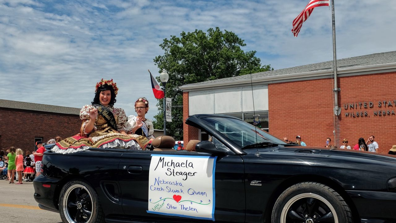 55th Annual National Czech Festival August 5, 2016 Wilber, Nebraska Color Photography Czech Days Czech Festival Czech Queen Event Lifestyles Main Street USA Midday Sunlight Mode Of Transport Nebraska Outdoors Parade Royal Smal Town USA Small Town USA Summertime Traditional Clothing Traditional Costume Traditional Culture Waving Hello Wilber, Nebraska