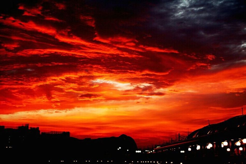 Sunset Orange Color Cloud - Sky Dramatic Sky Silhouette Architecture Built Structure Diseneyland Japan Sky City Majestic Beauty In Nature Red Romantic Sky Vibrant Color Atmosphere Cloud Outdoors Cloudscape Atmospheric Mood First Eyeem Photo