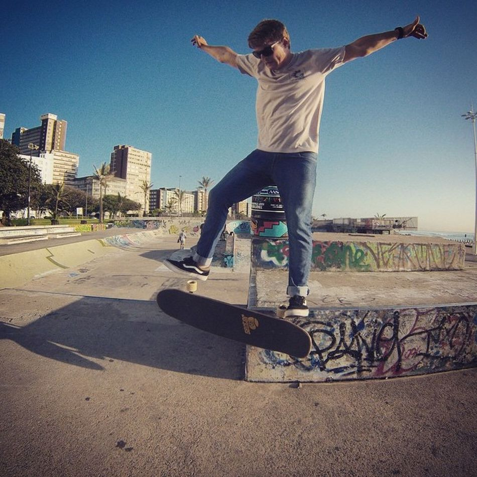 Durban skate park with @ren_s9 almost landing a board slide kick flip out... Skate SECTOR9INAFRICA @sector9inafrica Skatepark Wohza Gopro