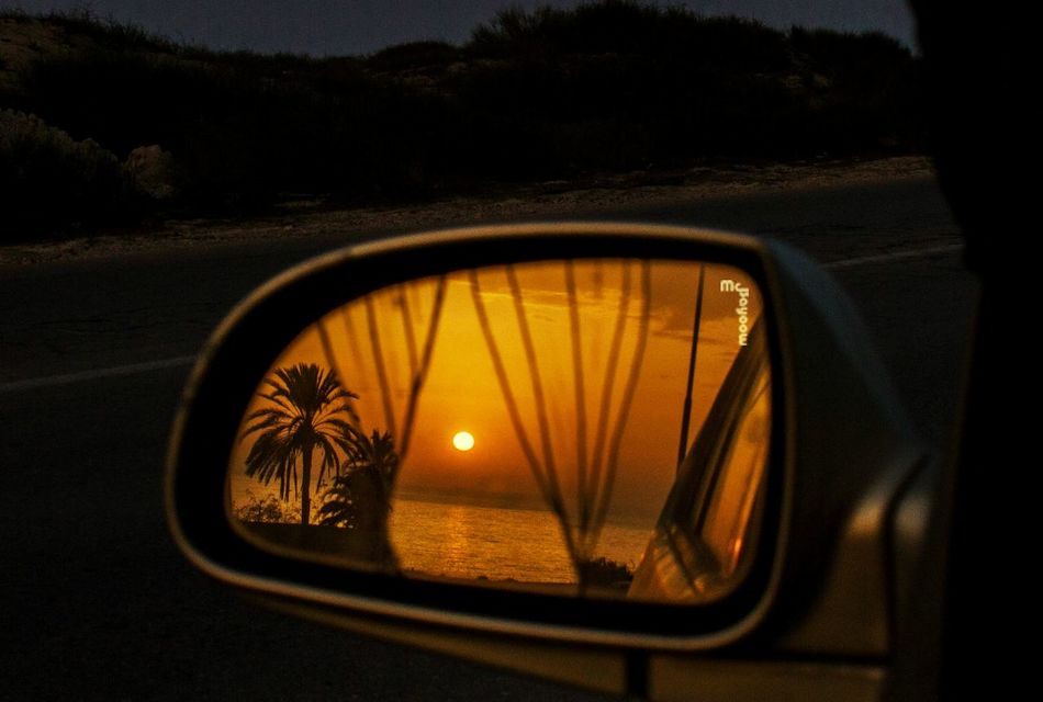 Car Mirror Reflection Mode Of Transport Sunset Close-up Side-view Mirror Vehicle Mirror No People Misrata Libya