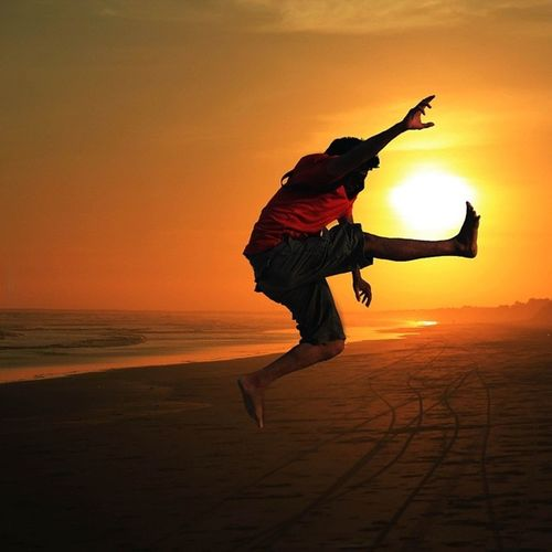 I Am Happy To Jump At Sunset Real People