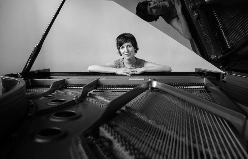 Portrait Shooting Hanne Pilgrim, Universität der Künste, Berlin 2014 Artist Arts Culture And Entertainment Day Front View Gramophone Indoors  Music Musical Instrument Musician One Man Only One Person Only Men People Performance Pianist Piano Piano Moments Portrait Sitting Young Adult