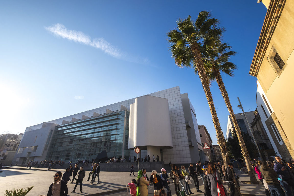 MACBA, Museum of Contemporary Art of Barcelona, Catalonia Spain Architecture Architecture Barcelona Building Exterior Built Structure City City Life Crowd Day Large Group Of People Macba  MACBA MUSEUM Modern Museum Museum Of Modern Art Outdoors Palm Tree People Raval Raval Barcelona Real People Sky Skyscraper Tree