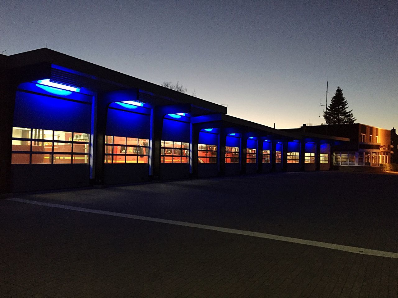 Firedepartment Sky Architecture Built Structure No People Outdoors Firefighter Blue Light Light And Shadow