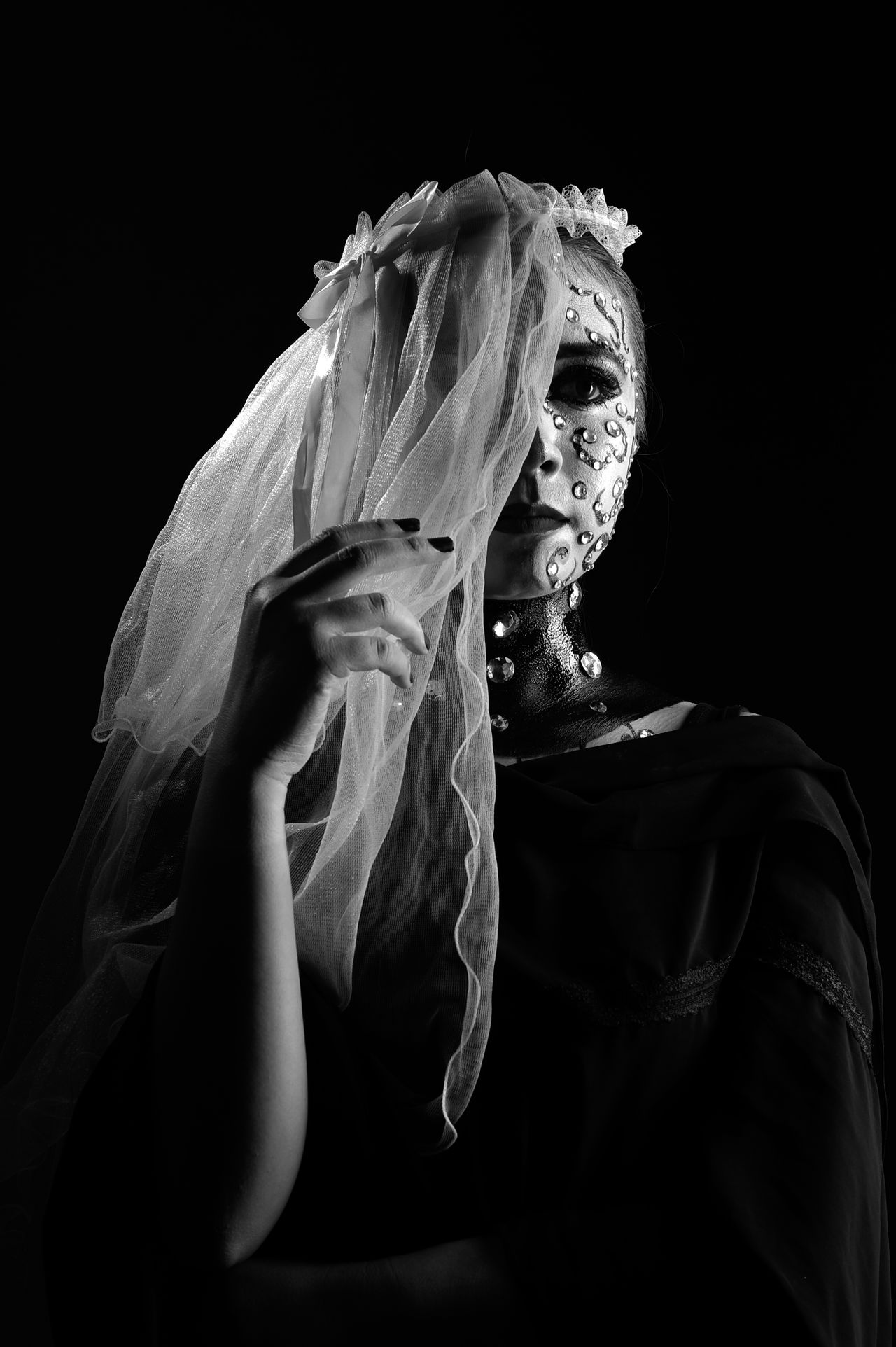 Beautiful Woman Black Background Close-up Day Halloween Indoors  Lifestyles One Person People Real People Studio Shot The Portraitist - 2017 EyeEm Awards Young Adult Young Women