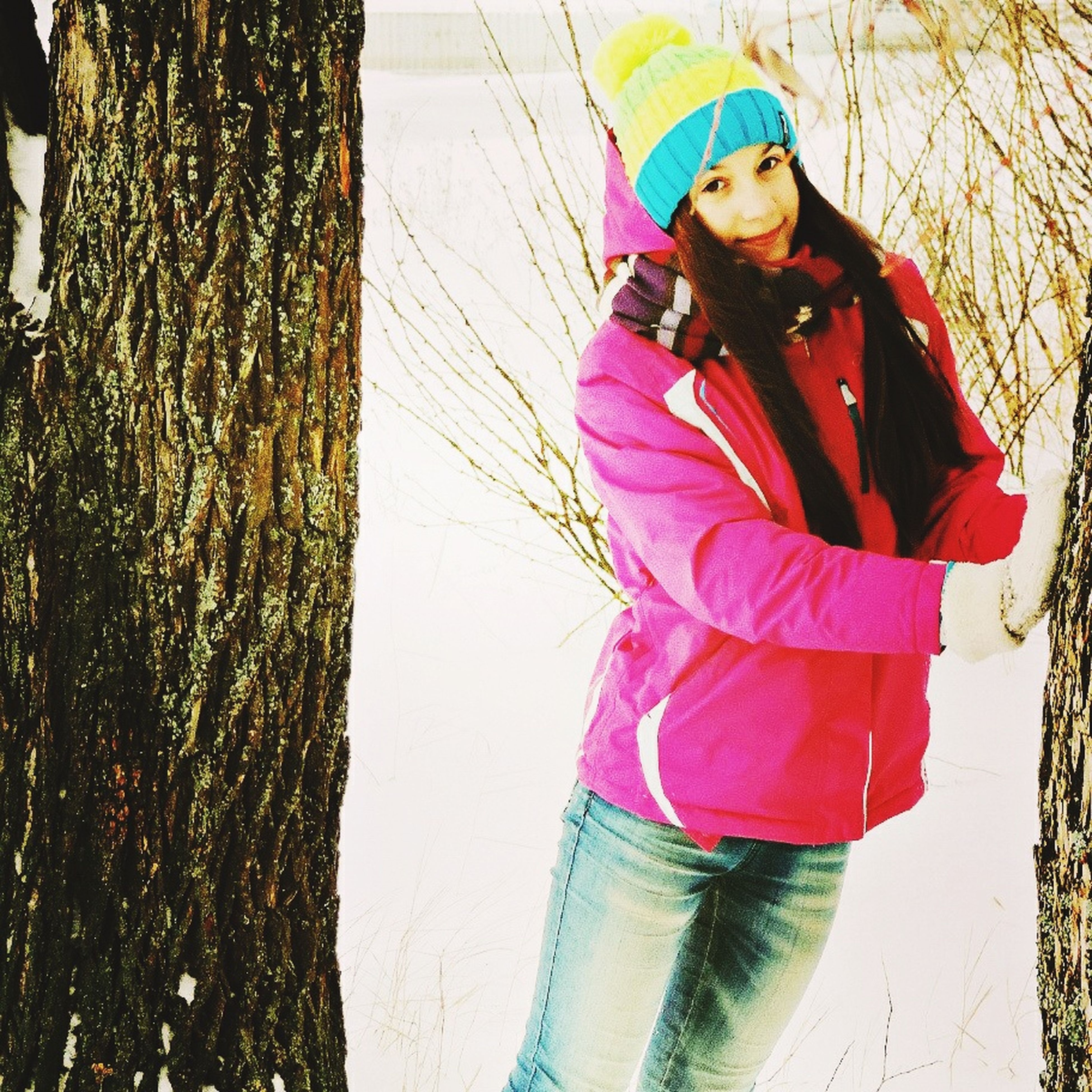 lifestyles, casual clothing, warm clothing, leisure activity, standing, young adult, front view, person, winter, three quarter length, looking at camera, cold temperature, snow, young women, portrait, season, jacket, full length