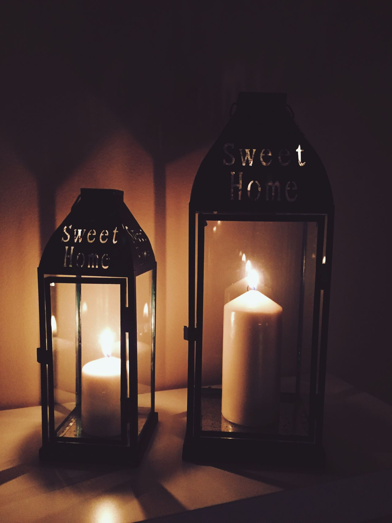 Cozy at home... Anything else needed ✨🏡🛋✨ Illuminated Candle Home Interior IPhoneography Throughmyeyes Night Light And Shadow Cozy Place Cozy At Home Lantern Candles Home Sweet Home
