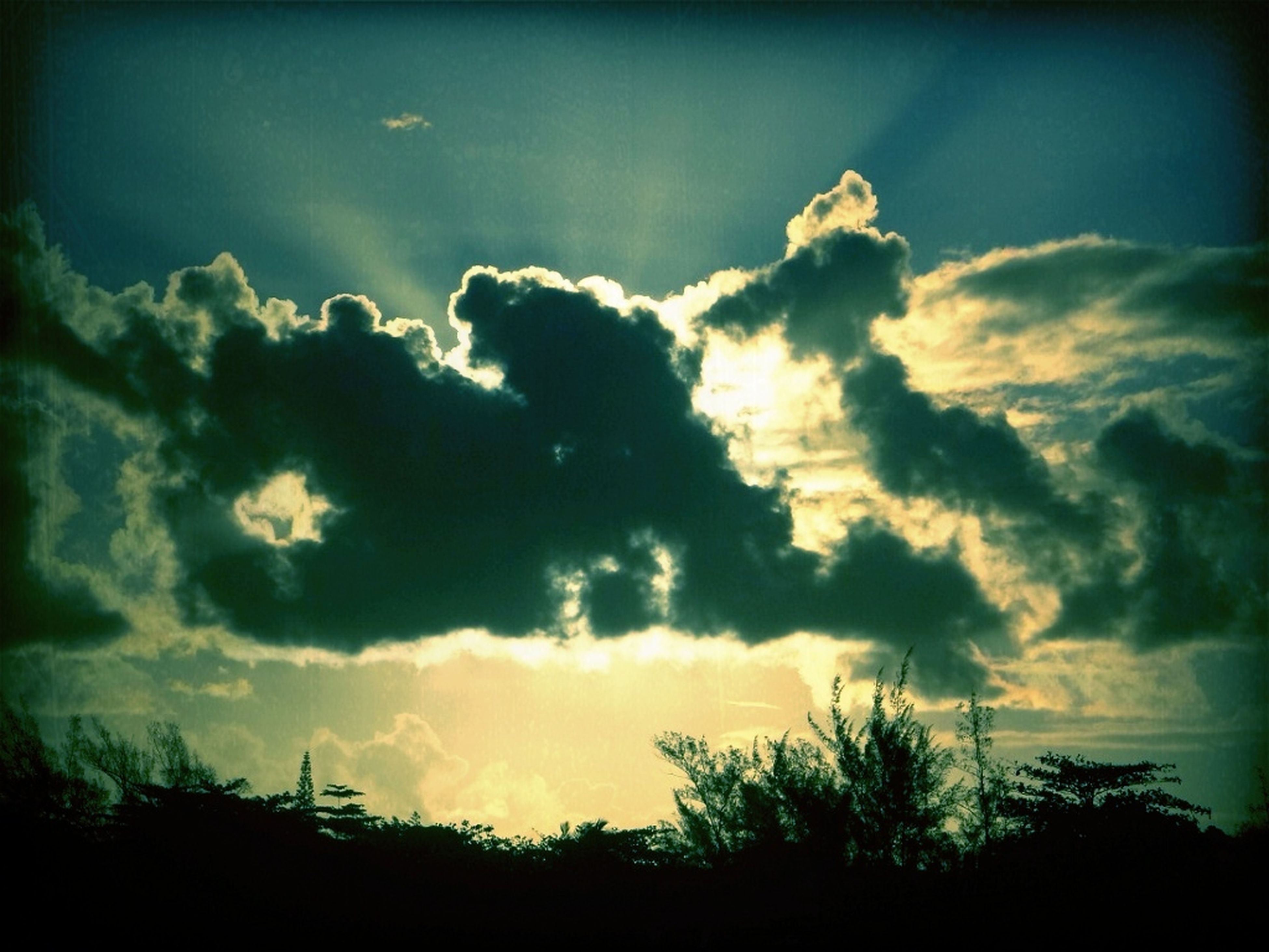 sky, cloud - sky, beauty in nature, scenics, silhouette, tranquility, tranquil scene, cloudy, sunset, nature, cloud, low angle view, tree, idyllic, dramatic sky, cloudscape, outdoors, sunlight, sunbeam, weather