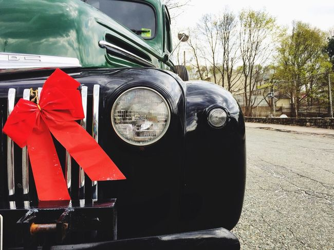 Pick Up Truck Old Car Old Cars Antique Ford Truck Ford Truck Ford Antique Antique Car Vintage Vintage Cars Truck Headlight Ribbon Red Ribbon Red And Green Black Truck Truck Grill Old Truck Colour Of Life