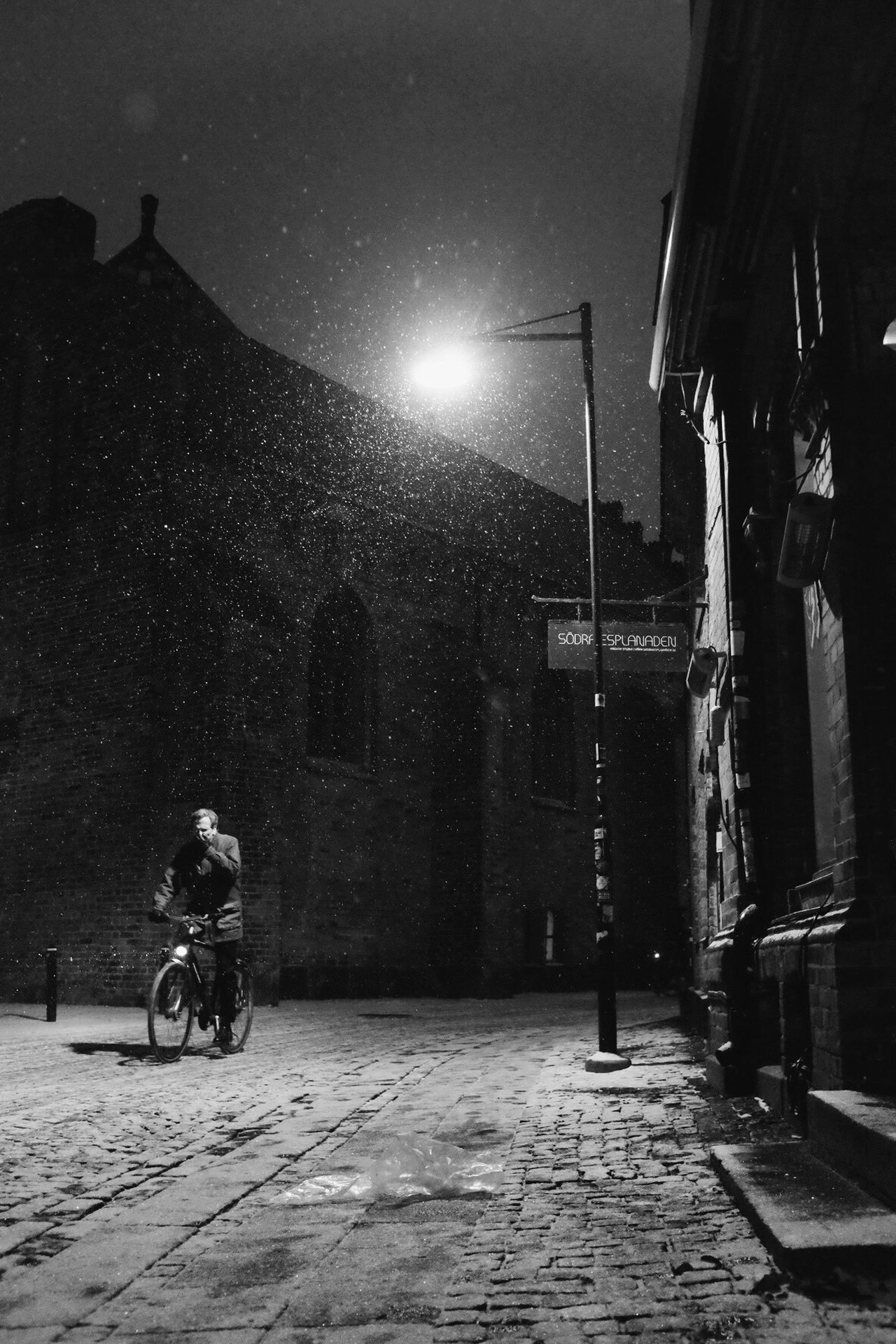 Illuminated One Person Night Black And White Winter Monochrome Transportation Bw_collection Street Photography Shootermag Snow