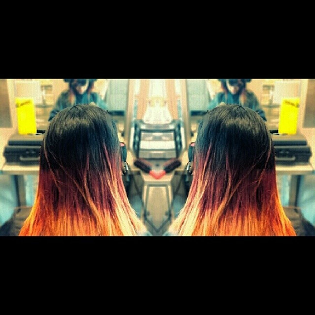 Did this firey ombre on my friend Jocelyn Gomez yesterday ♥ Capitoldoll Saphire Themagneticbeauty Beautyschool cosmetologist hairstylist