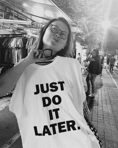 Just Do It Later One Person Text Casual Clothing Real People Day Young Adult Happiness Outdoors Young Women Bride Adult People Adults Only