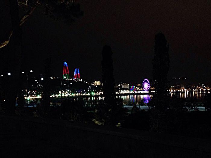 Baku Azerbaijan Flametowers Hello World Wintertime