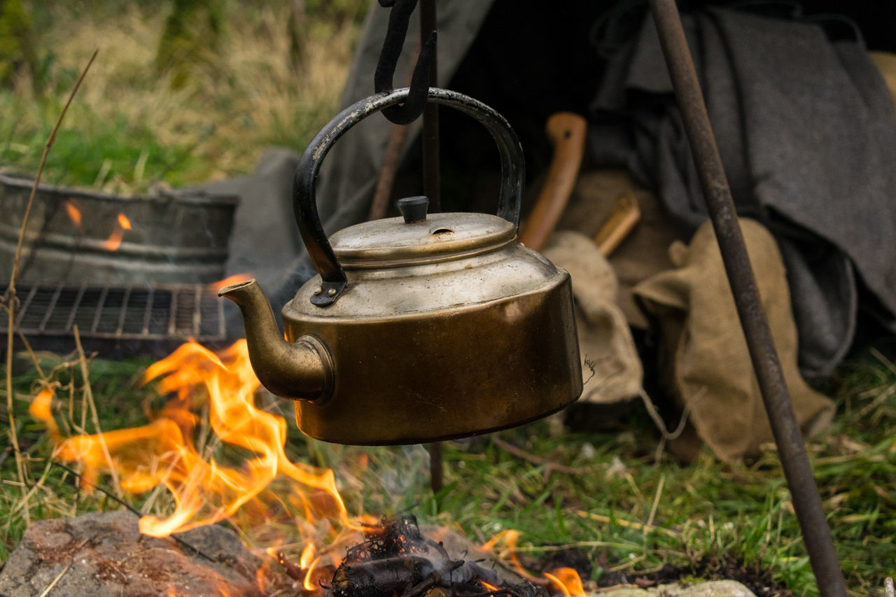 Fire - Natural Phenomenon Camping Heat - Temperature Flame Burning Outdoors Day No People Close-up Historical Reenactment Ireland Rural Scene