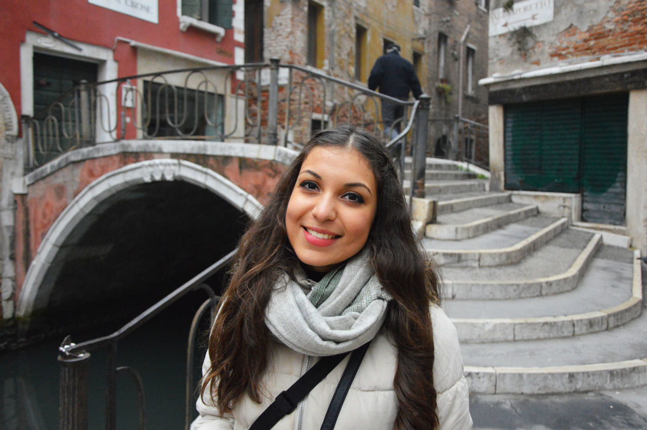 Smiling tourist in Venice, Italy Adult Architecture Beautiful Woman Building Exterior Built Structure Day Girl Happiness Lifestyles Looking At Camera One Person Outdoors People Portrait Real People Smile Girl Smiling Smiling :) Smiling Face Smiling Girl Smiling Woman Venice Warm Clothing Young Adult Young Women