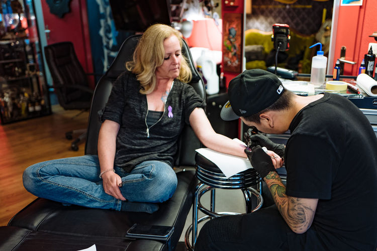 Bus Casual Clothing Colitis Crohns Crohnsdisease Day Leisure Activity Lifestyles Sitting Tattoo Tattooing Worldibdday