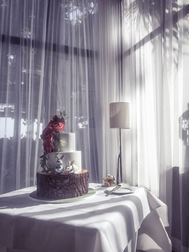 Indoors  Curtain Window Table Selective Focus Person Decoration Freshness Group Of Objects Cake Wedding Cake Weddingcake White Curtains Rabbit Rabbits Rabbits 🐇 Flower Flowers Afternoon Interiors IPhoneography IPhone Photography Iphonephotography Sillouette