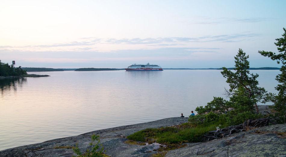 Calm Sea Car Ferry Gulf Of Finland Nature Nautical Vessel Sea Sky Sunset Tranquil Scene Viking Line Water