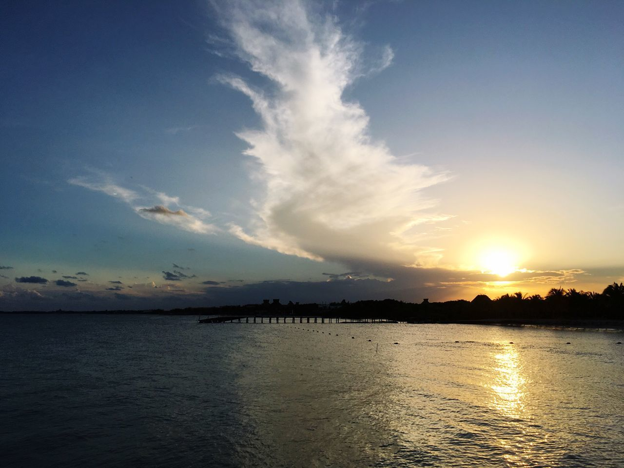 sunset, sky, water, scenics, tranquility, beauty in nature, silhouette, nature, tranquil scene, sea, cloud - sky, waterfront, reflection, no people, outdoors, sun, rippled
