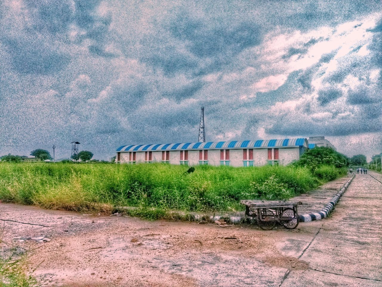 Cloud - Sky Outdoors Sky Blue Workshop Noisy_Pic Mobilephotography Empty Road Absence Building Exterior Day Sky Blue Solitude Cloud - Sky Outdoors Tranquility Cloudy Remote Tranquil Scene No People Countryside Rural Scene Surface Level
