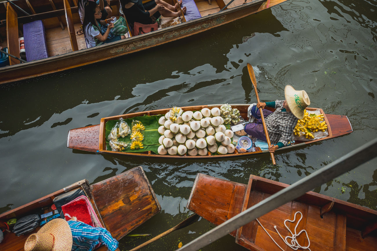 Adventure Floating Market Food Market People Thailand Traveling Trip Water Woman