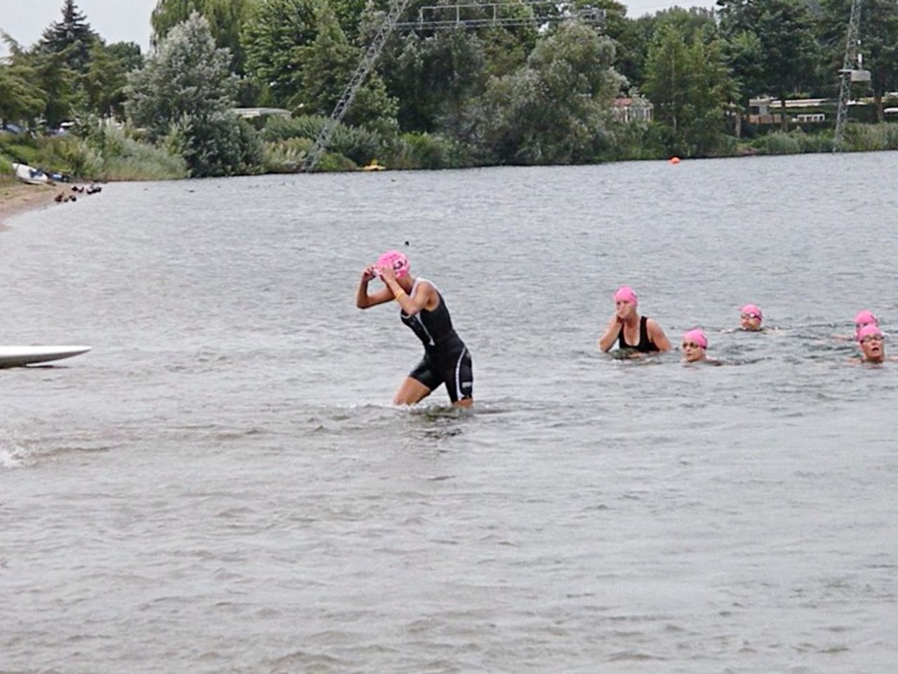 Woman Triathlon Beesd ,the Netherlands Pink Swim Caps Take The Challenge Never Give Up Swim Bike Run