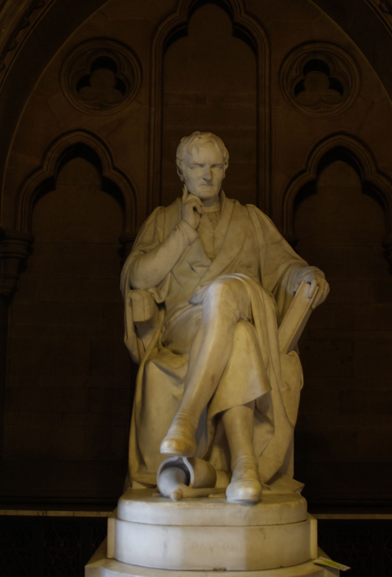 A statue of John Dalton, a school master who developed the Atomic Theory of matter, which underlines chemistry and atomic physics of today Human Representation Sculpture Statue Art And Craft Art History Arched The Past Stone No People John Dalton