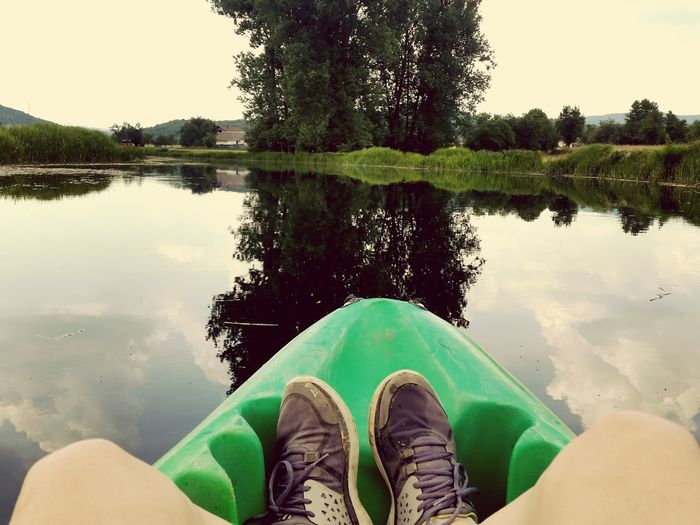Kayak Kayaking River Low Section Personal Perspective One Person Water Reflection Shoe Human Body Part Human Foot Outdoors Nature Symetry Gacka