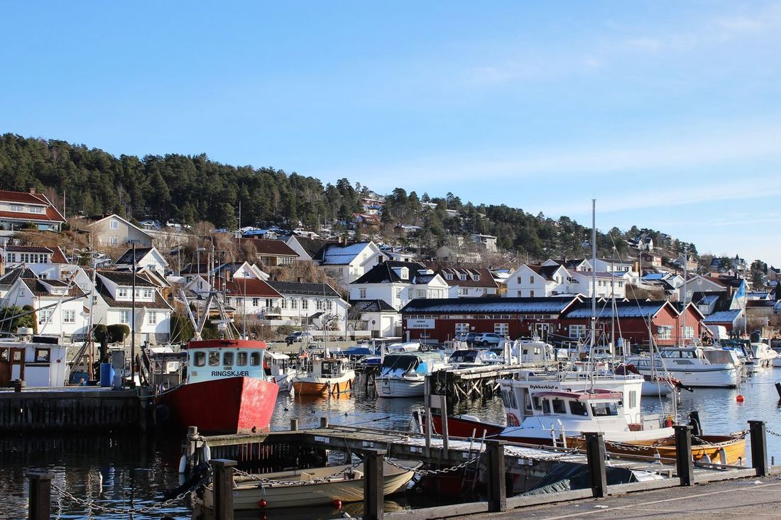 Drøbak Norway Travel Destinations Harbor View Outdoors Harbor Sea Houses Scenics Sunlight Boats Built Structure Architecture Commercial Dock Oslofjord Sea_collection Day Clear Sky Winter