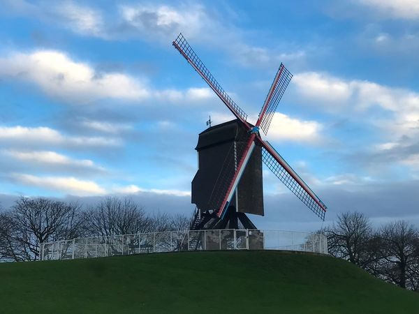 Wind Power Windmill Wind Turbine Alternative Energy Environmental Conservation Renewable Energy Cloud - Sky Traditional Windmill Sky Architecture No People