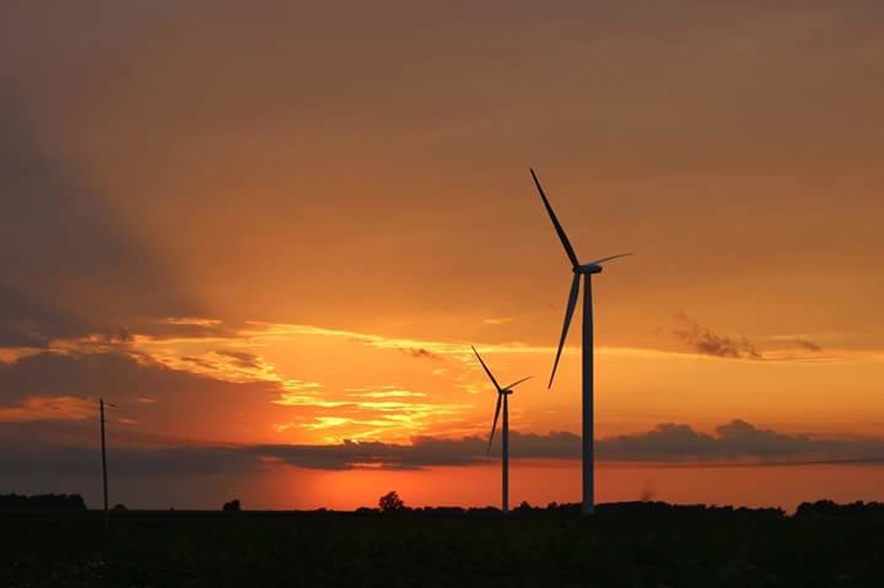 alternative energy, environmental conservation, fuel and power generation, wind power, wind turbine, renewable energy, sunset, windmill, orange color, industrial windmill, technology, silhouette, nature, cloud - sky, sky, beauty in nature, rural scene, outdoors, no people, electricity, scenics, traditional windmill, day