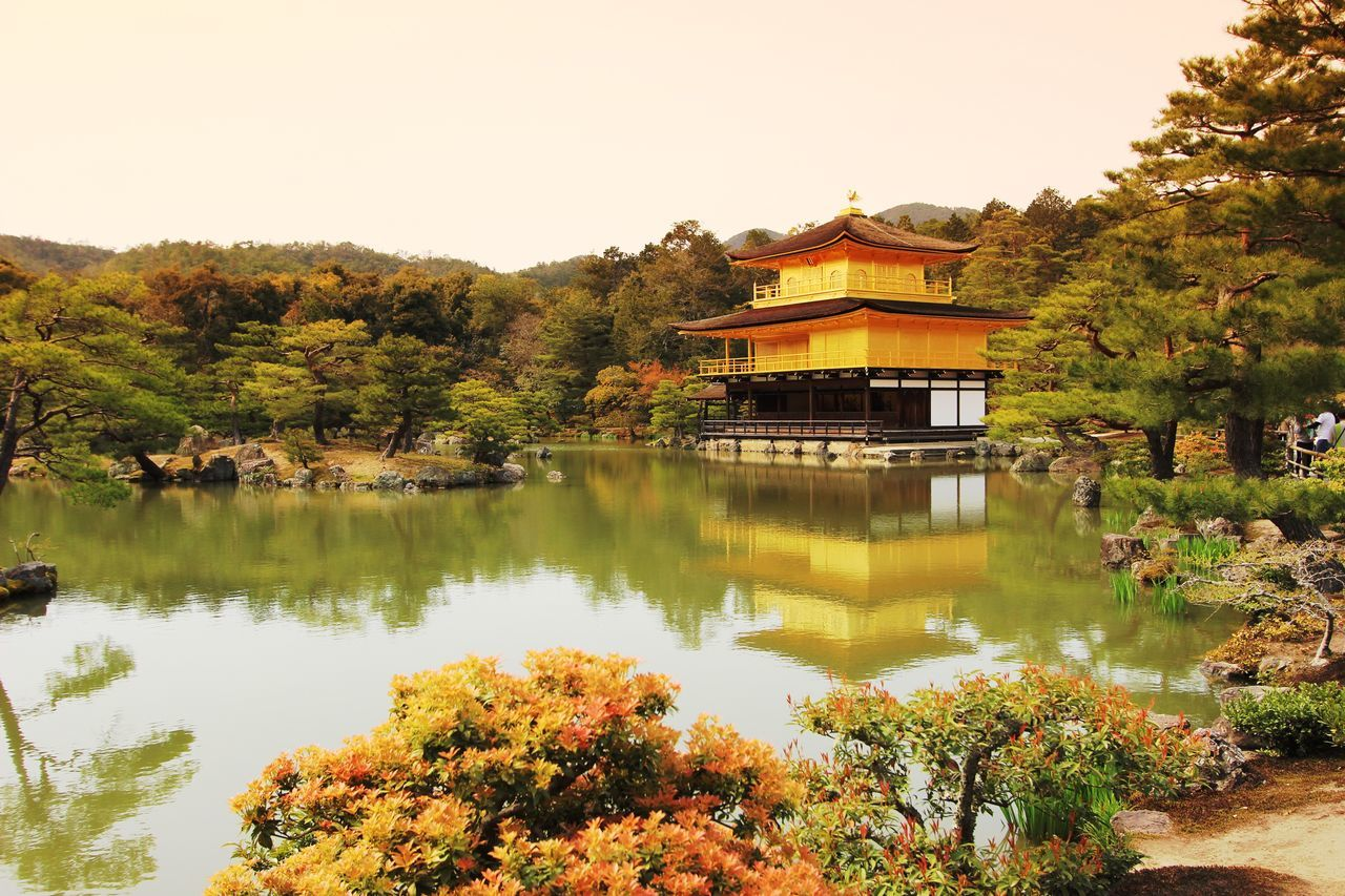 Built Structure Architecture Tree Building Exterior Reflection Water Lake Clear Sky Spirituality Green Color Waterfront Day Place Of Worship Outdoors No People Golden Temple Kyoto,japan Travel Photography Rickeherbertphotography Travel Destinations Famous Place The Architect - 2017 EyeEm Awards