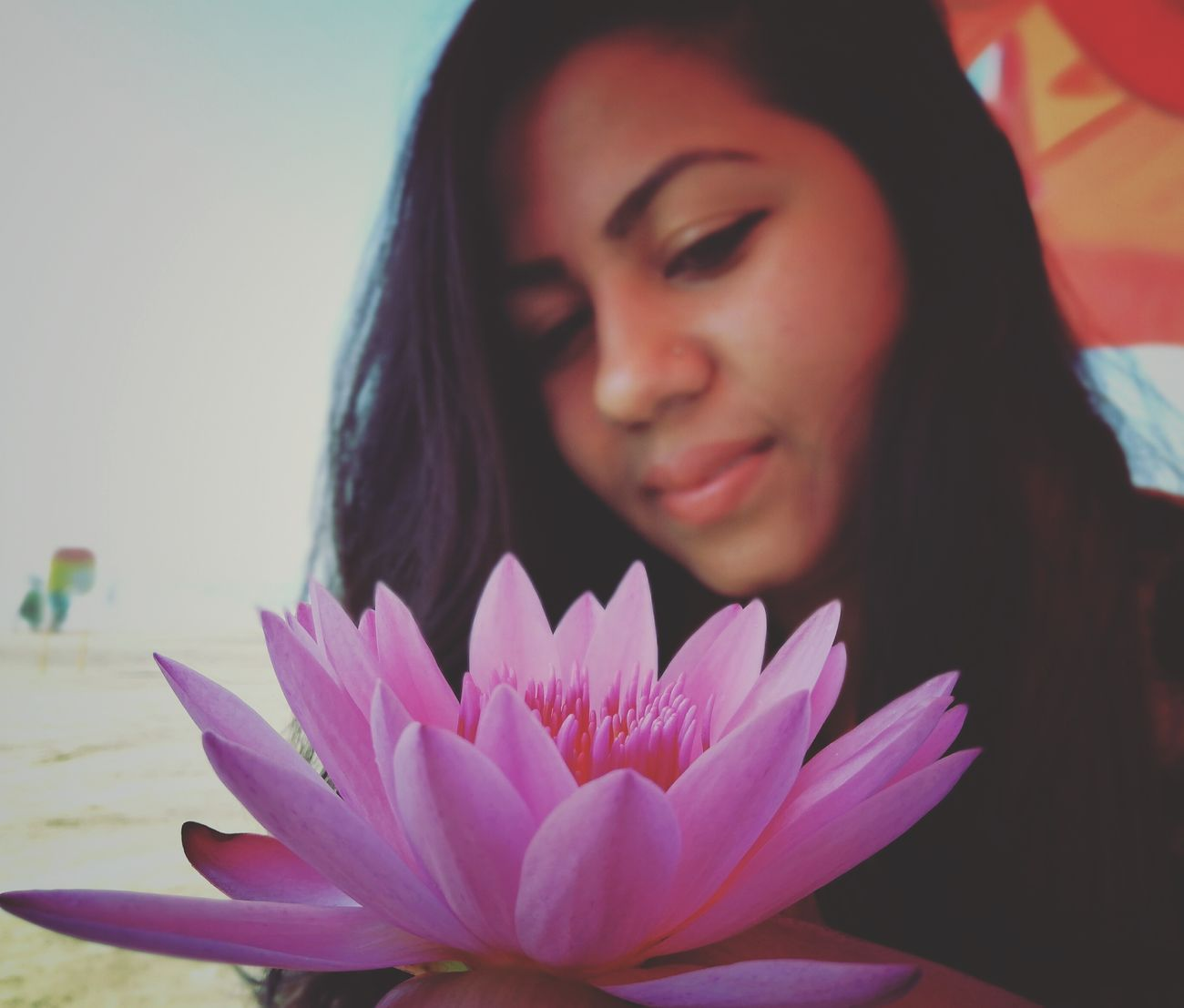 Beauty with flower