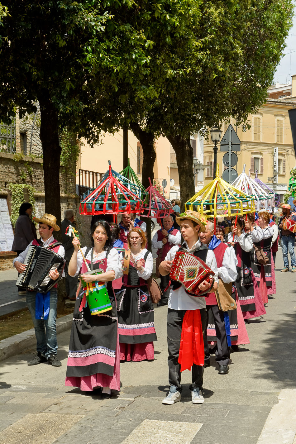 Chieti, Italy - May 08, 2016: folk parade in the streets of Chieti Abruzzese Abruzzo Chieti Dress Folk Folklore Organetto Parade People Performer  Player Putipu Street Village