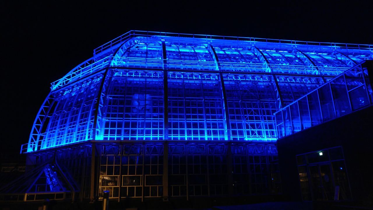 Illuminated Blue Night Architecture Outdoors Architecture Greenhouse Dark Building Exterior Built Structure Berlin