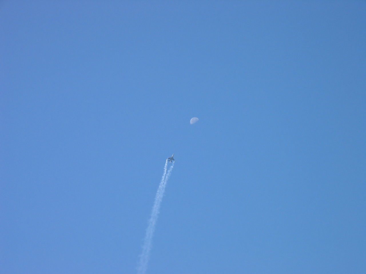 Aerobatics Air Vehicle Airplane Airshow Blue Chemtrail Clear Sky Falcon Fighter Fly Me To The Moon Flying Moon No People Sky First Eyeem Photo