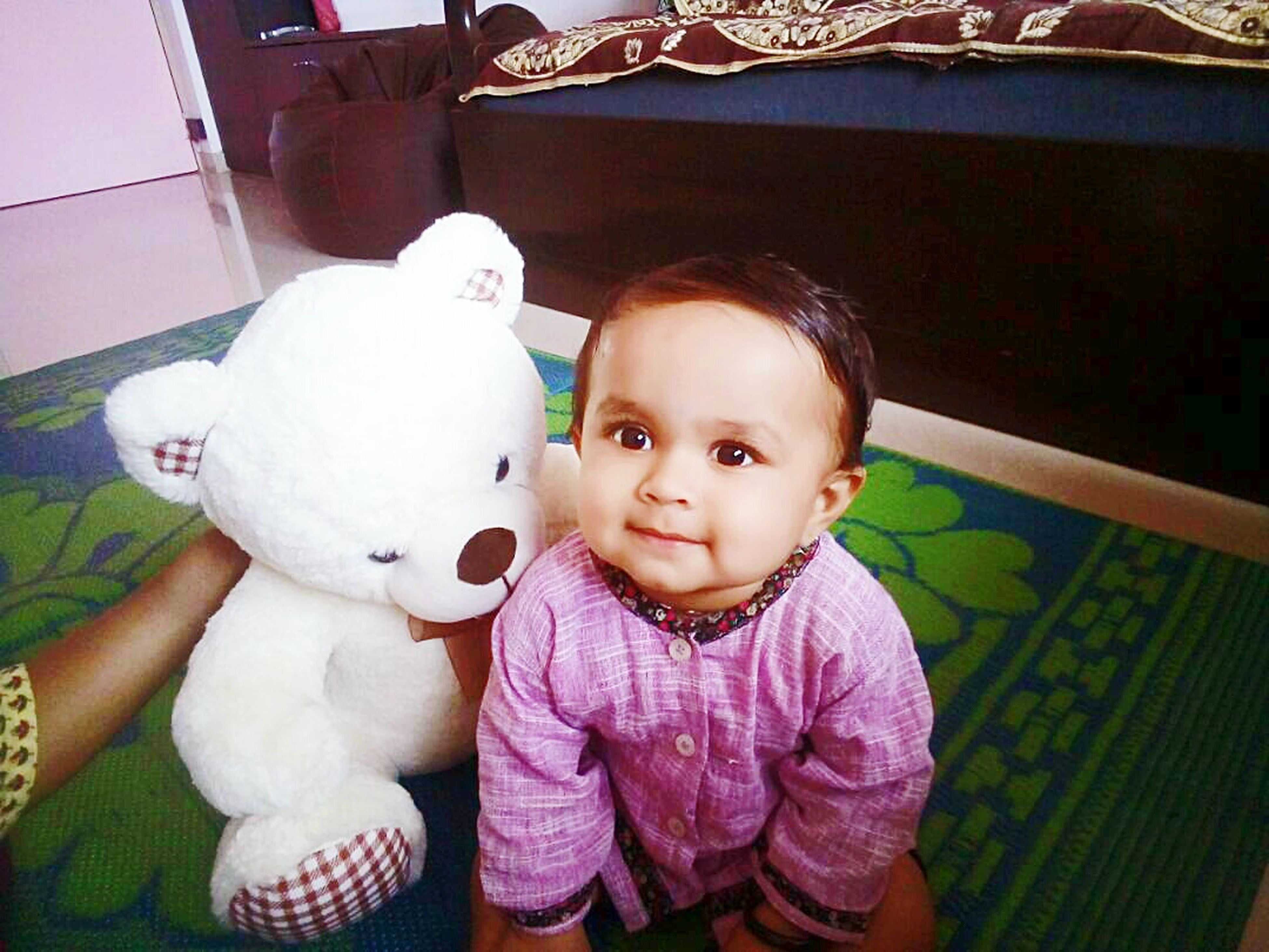 childhood, toy, stuffed toy, cute, innocence, looking at camera, babyhood, smiling, baby, indoors, teddy bear, portrait, one person, real people, happiness, home interior, day, babies only, animal themes, mammal, people