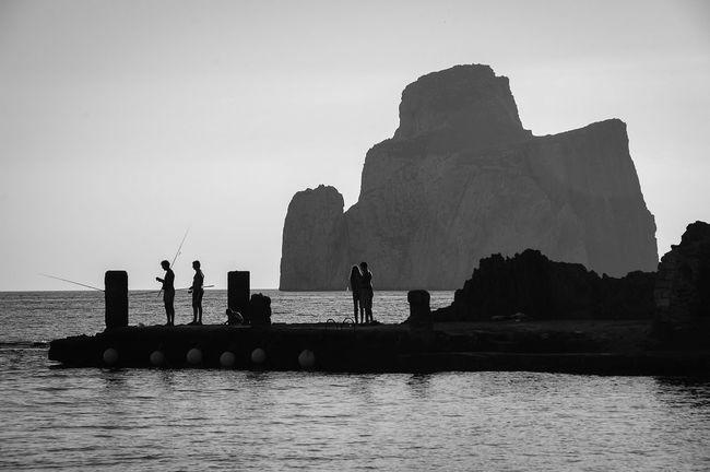 Black & White Blackandwhite Bw Cliff Fishing Italia Italy Rocks Rocky Sardegna Sardinia Sea Seascape Silhouette Sulcis Summer Vacations Feel The Journey