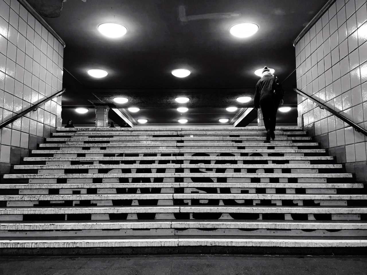 Hermannplatz Metro Station Ubahn Berlin Ubahn Neukölln Berlin Stairs Metro B&w Berlin Lovers Urbanphotography Berlincity Be Berlin Capture Berlin Blackandwhite Real People One Person Night City