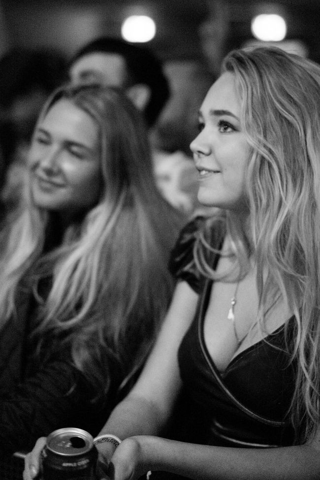 Young women at a concert, singing along Black And White Concert Cute Dancing Fans Gig Iceland Iceland Airwaves Live Concert Music Music Fans Music Fans In Black And White Singing Young Woman Young Women