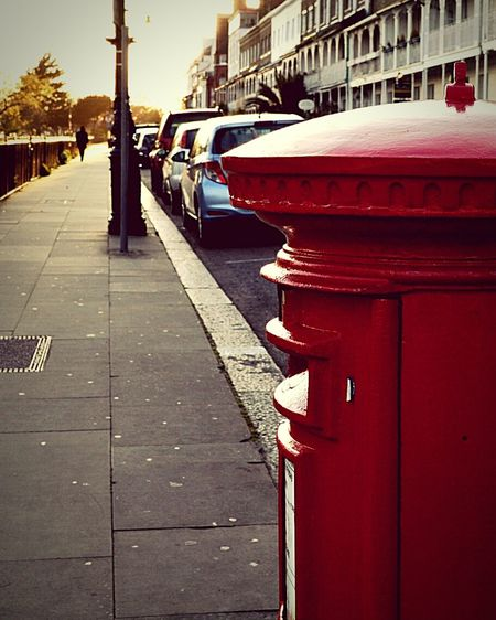 Red Post Box Post Box  Street Photography Street Pavement Man Walking Silhouette Of A Man Evening Light United Kingdom Nikon D3200